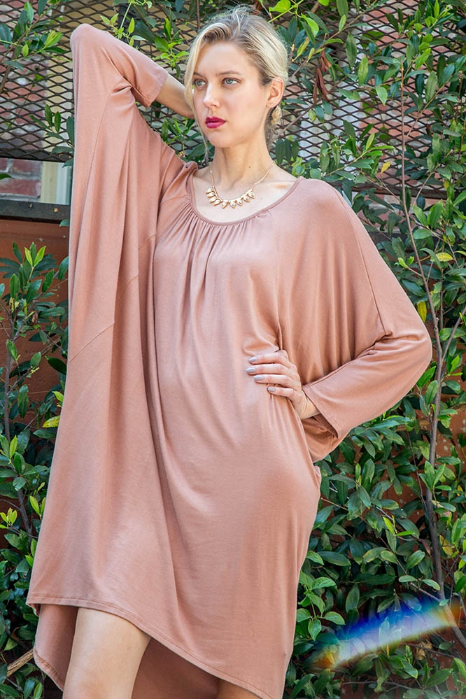 OVERSIZE SHIRRING DRESS - orangeshine.com