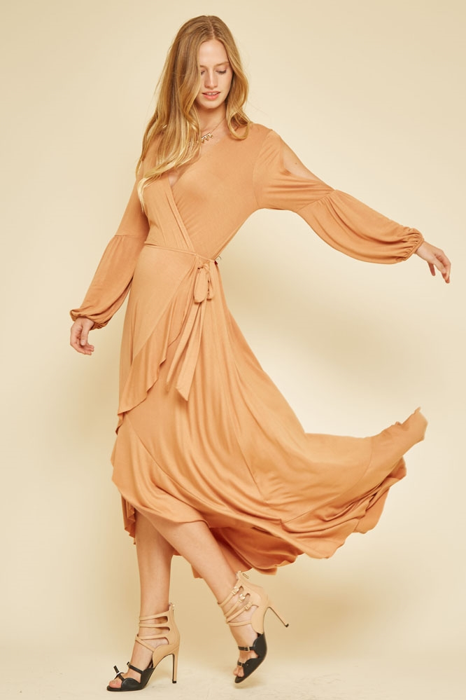 RUFFLE WRAP DRESS - orangeshine.com