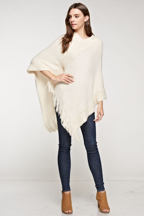 V-neck poncho with fringe - orangeshine.com