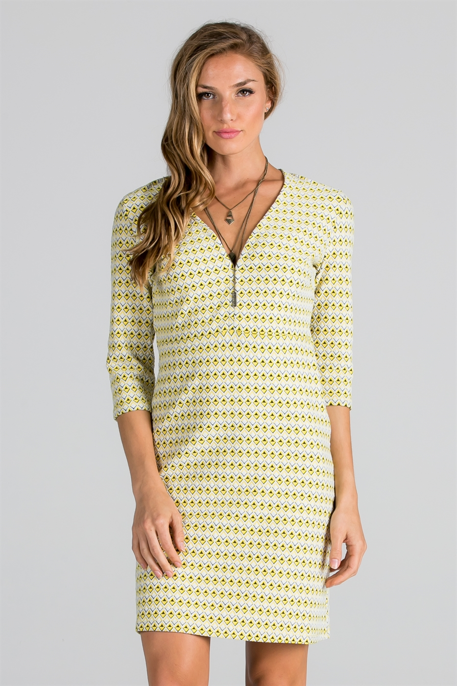 3/4 SLEEVE JACQUARD KNIT DRESS - orangeshine.com
