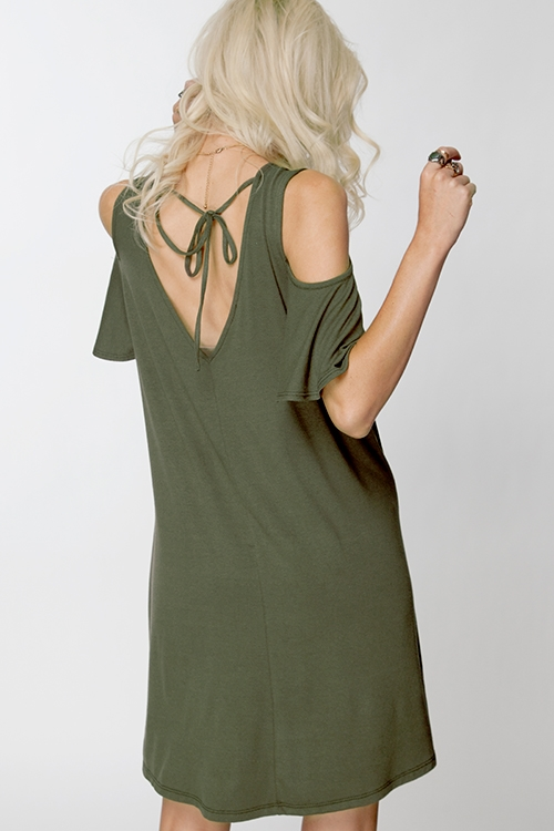 RUFFLED SLEEVE  CUT OUT DRESS - orangeshine.com
