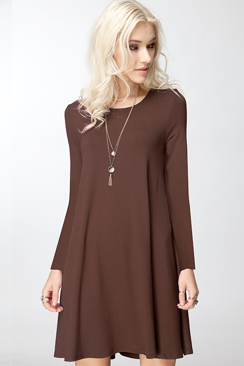 BASIC LONG SLEEVE DRESS - orangeshine.com