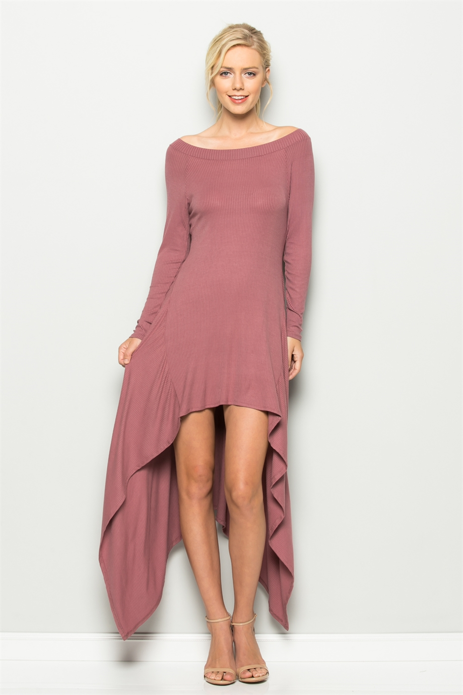 HANKY HEM RIB DRESS - orangeshine.com