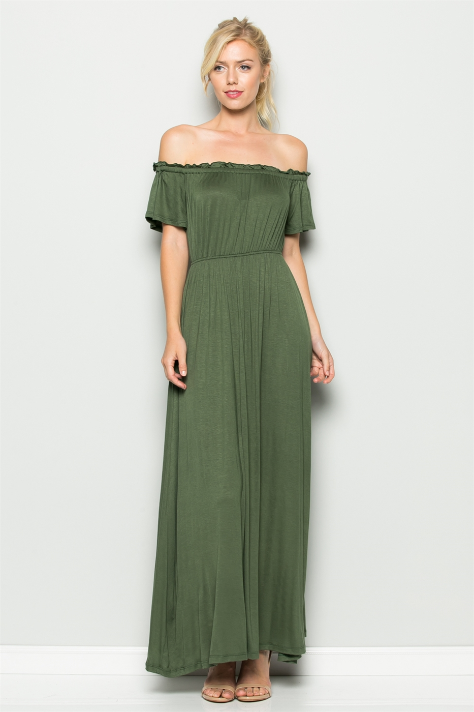 ELASTIC WAIST MAXI DRESS - orangeshine.com