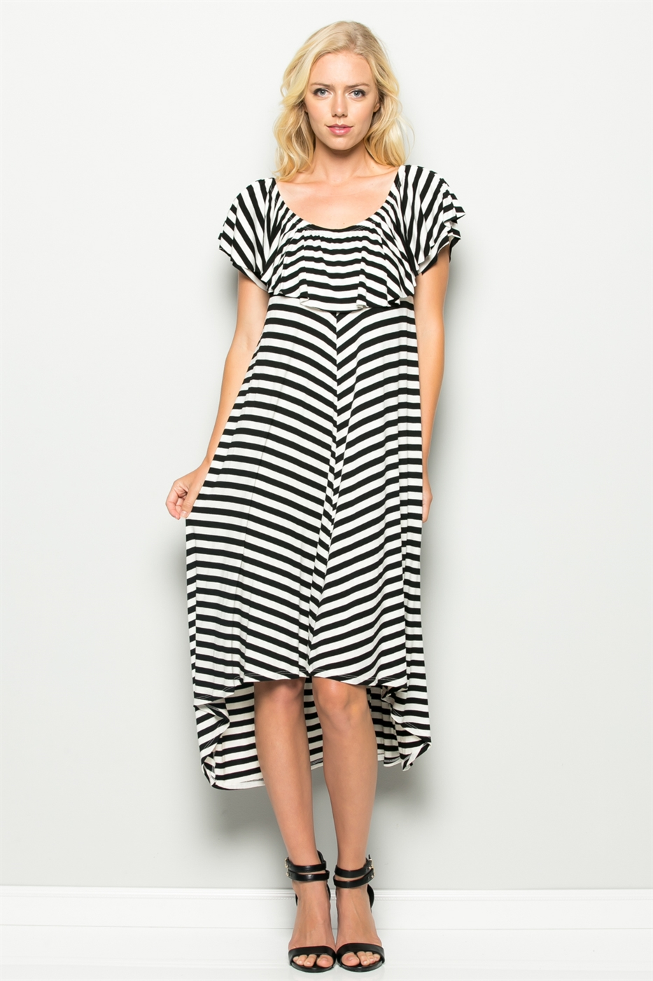 STRIPE HI-LOW DRESS - orangeshine.com