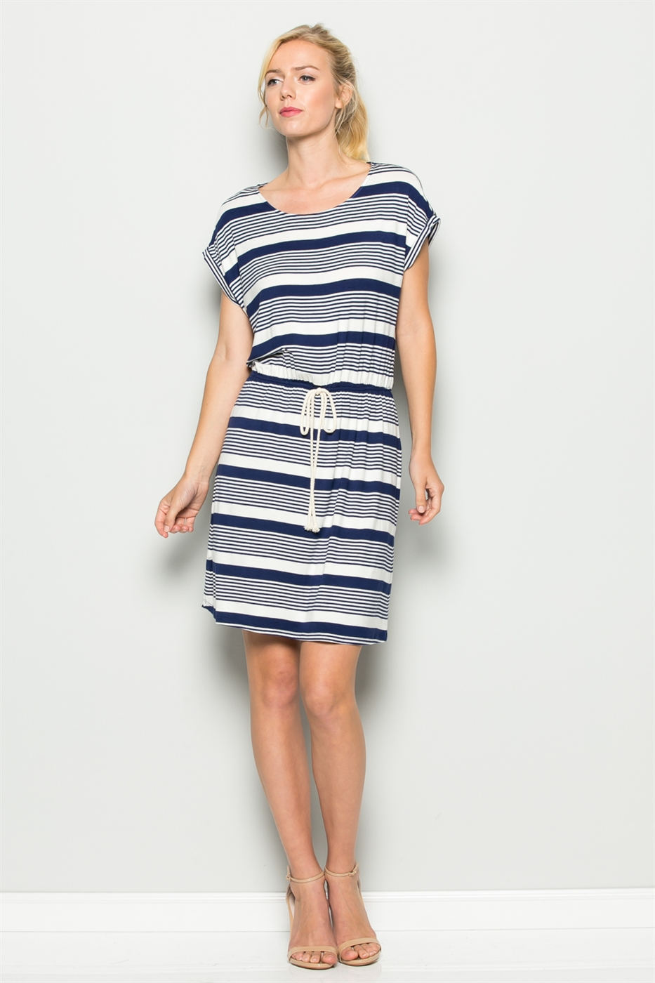 WAIST STRIPE DRESS - orangeshine.com