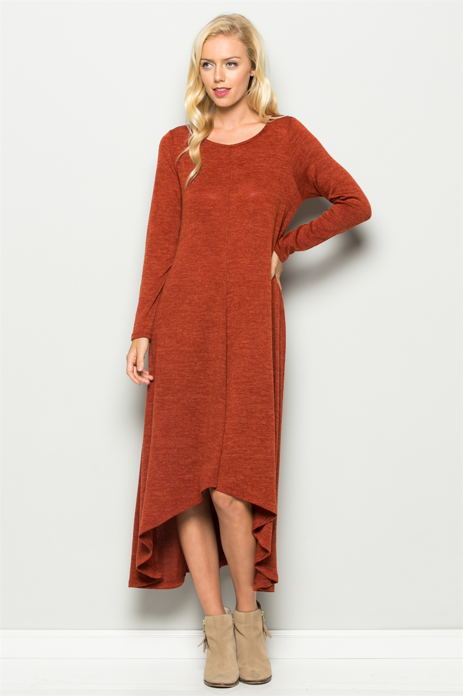 LONG SLEEVE KNIT DRESS - orangeshine.com