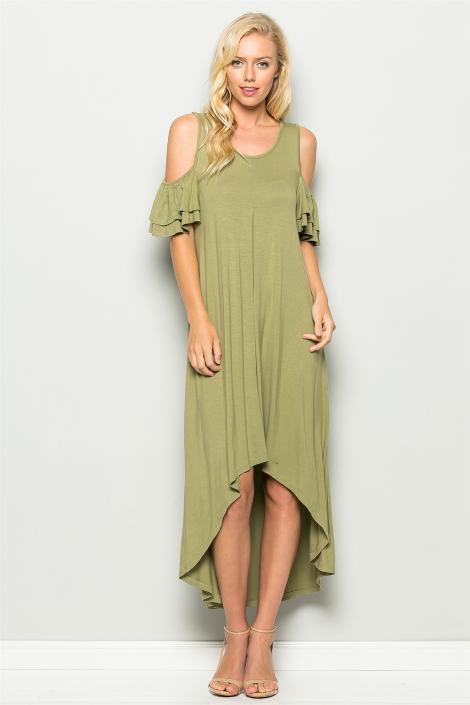 RUFFLE SLEEVE DRESS - orangeshine.com