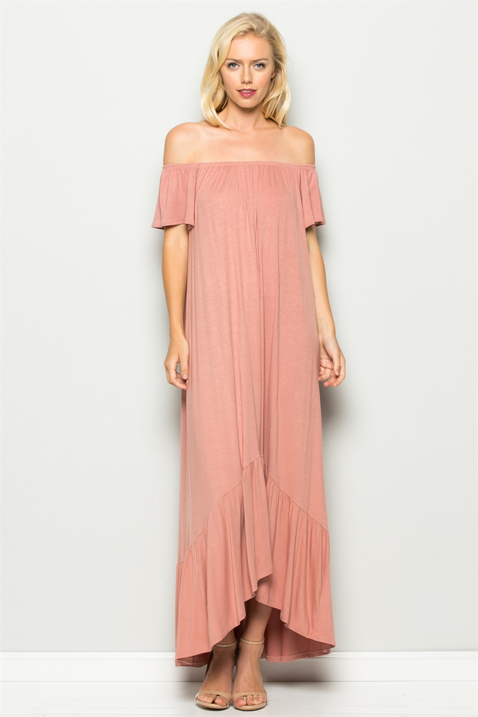 OFF SHOULDER RUFFLE DRESS - orangeshine.com