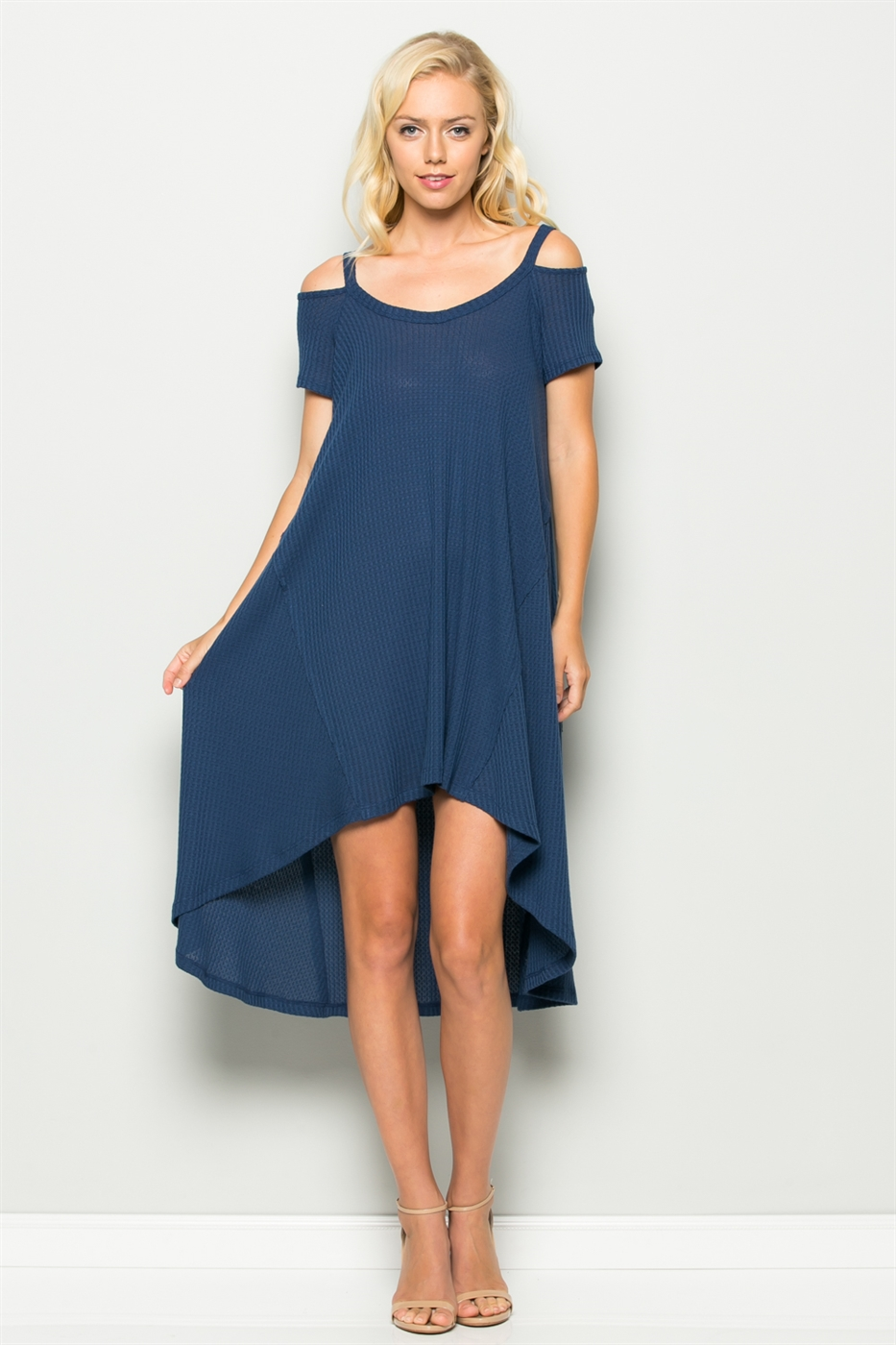 WAFFLE HI-LOW HEM DRESS - orangeshine.com