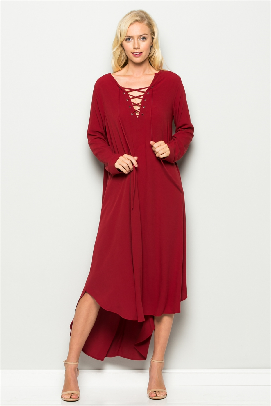 LACE UP FRONT DRESS - orangeshine.com