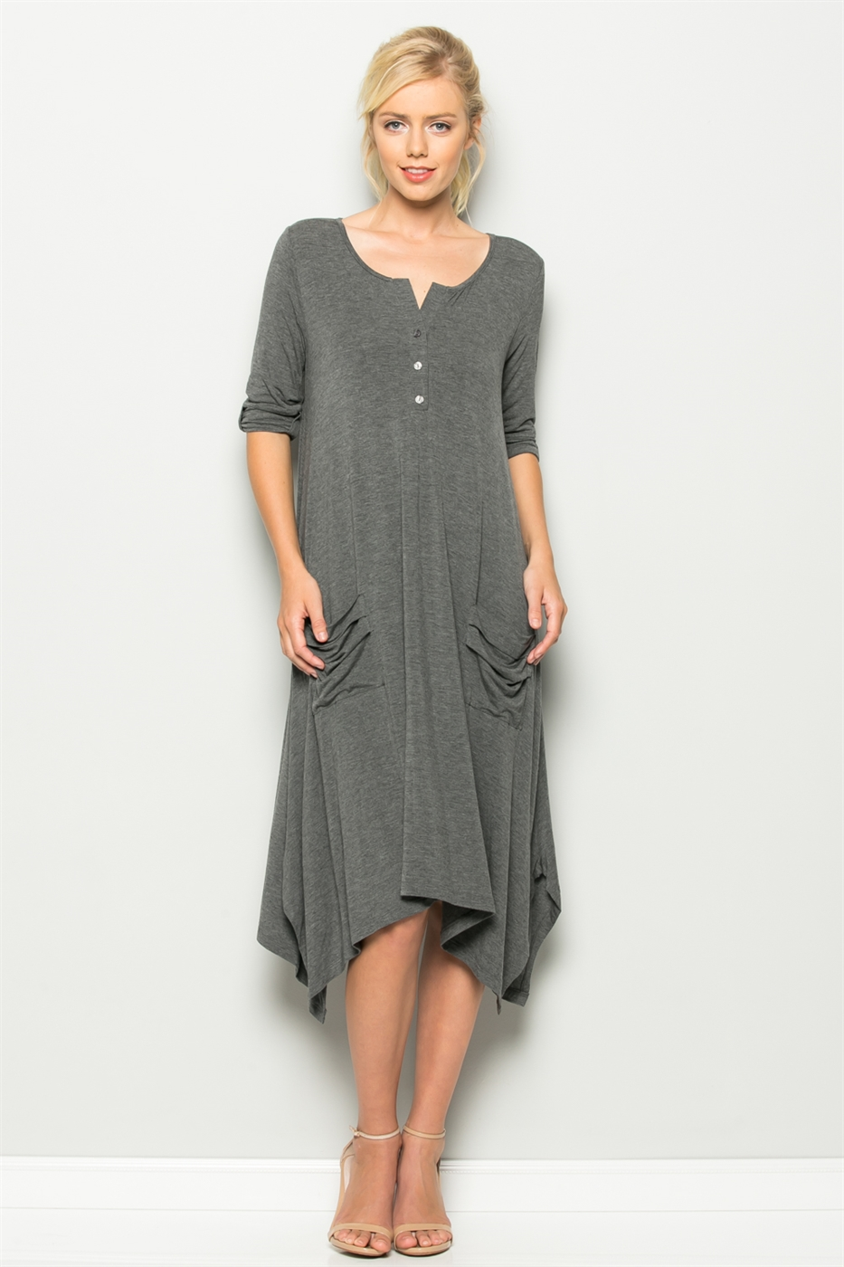 3/4 CUFF SLEEVE POCKET DRESS - orangeshine.com