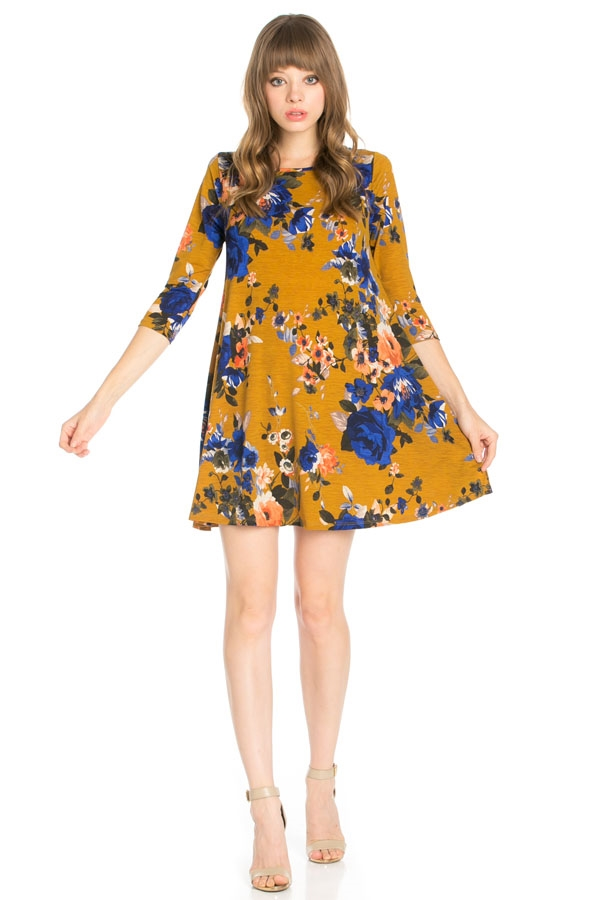 3/4 Sleeve Tunic Pocket Dress - orangeshine.com