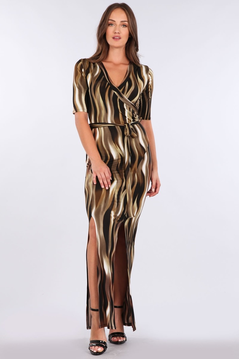 PRINT FAUX WRAP DRESS - orangeshine.com