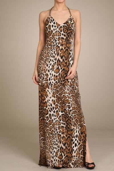 ANIMAL PRINT HALTER MAXI DRESS - orangeshine.com