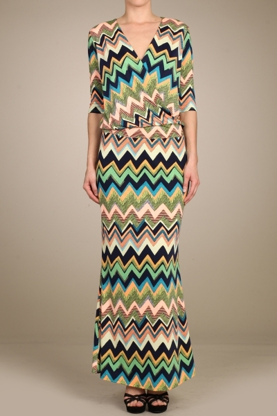 CHEVRON PRINT MAXI DRESS - orangeshine.com