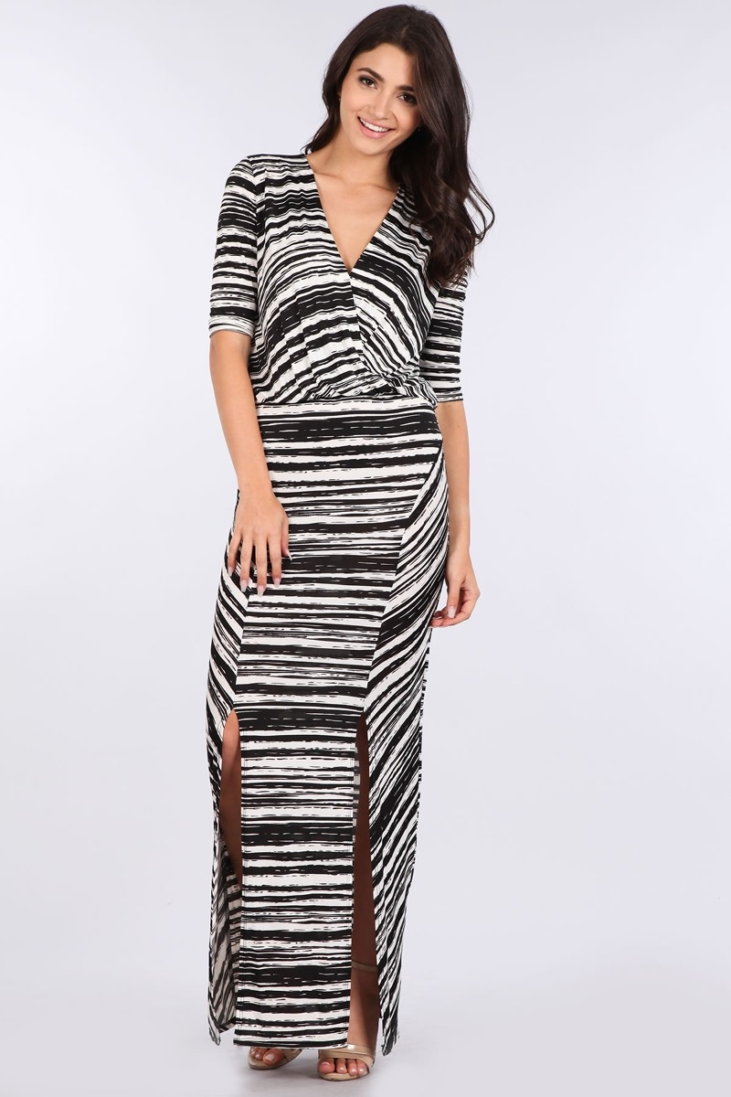 STRIPED MAXI DRESS - orangeshine.com