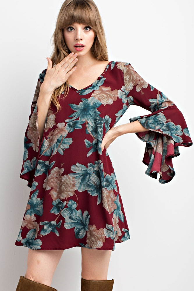 BELL SLEEVE FLORAL PRINT DRESS - orangeshine.com