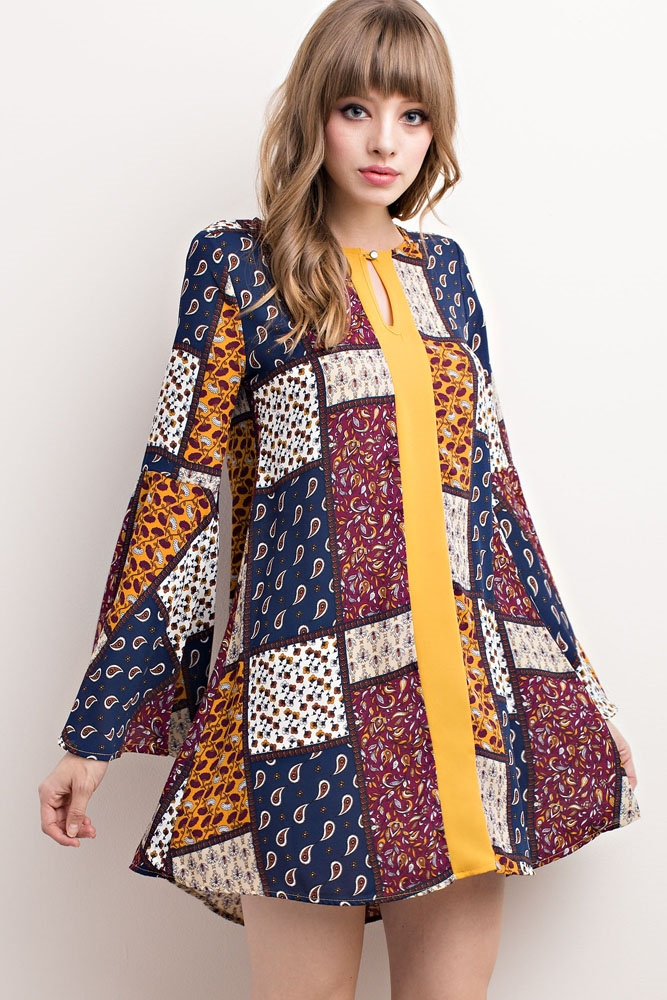 PATCHWORK PRINT DRESS - orangeshine.com
