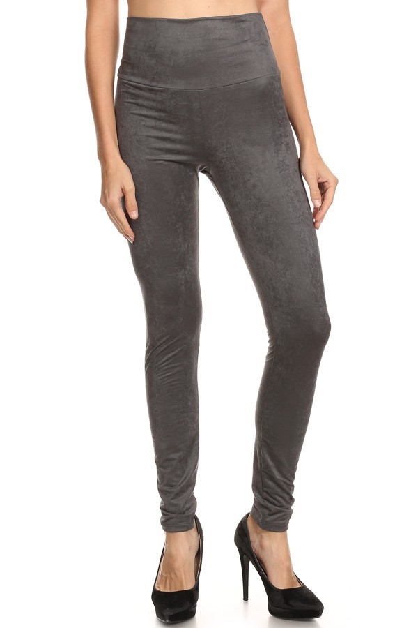 Suede High Waisted Leggings - orangeshine.com