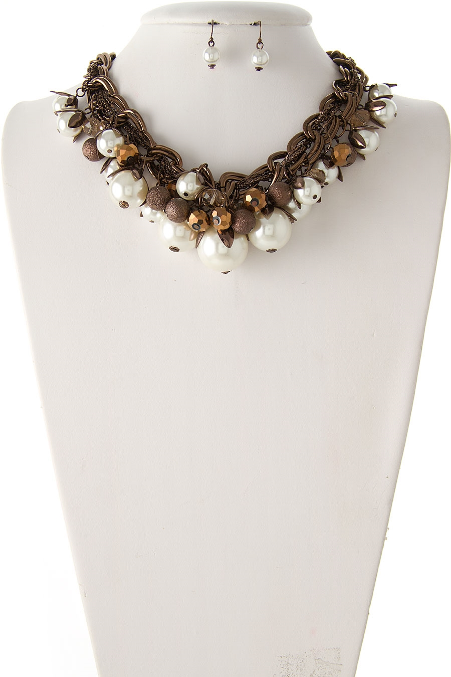 GLASS  PEARL BIB NECKLACE - orangeshine.com