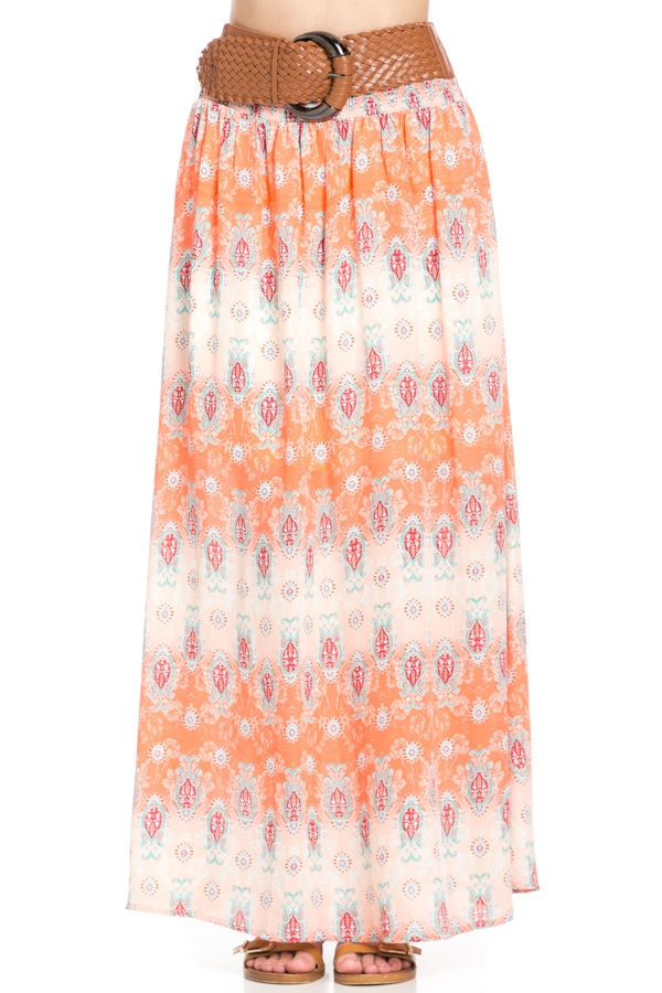 PRINT SKIRT WITH BELT - orangeshine.com