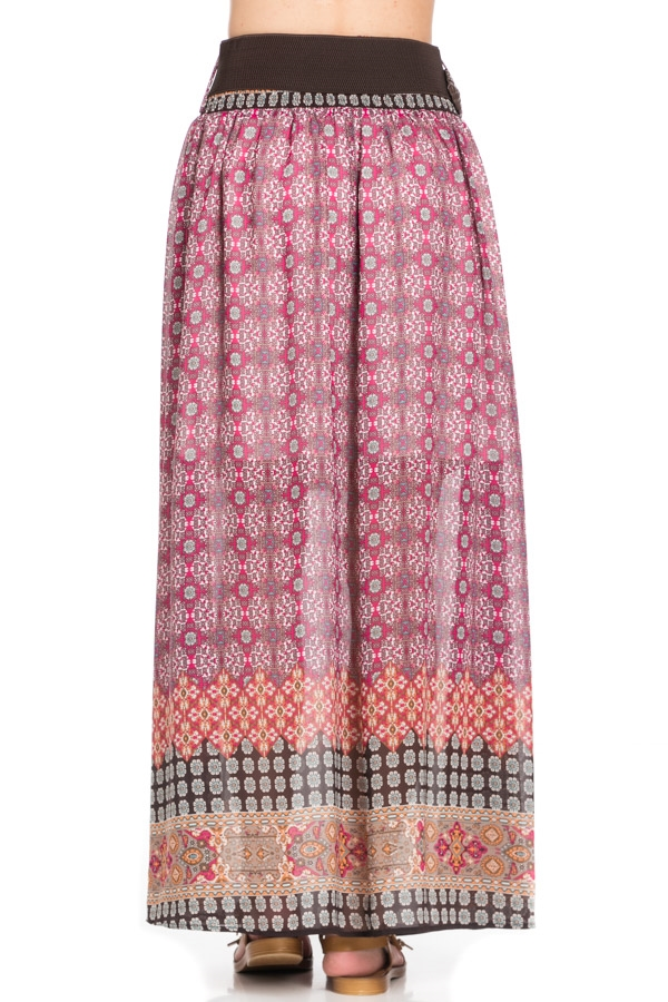PRINT LONG SKIRT WITH BELT - orangeshine.com