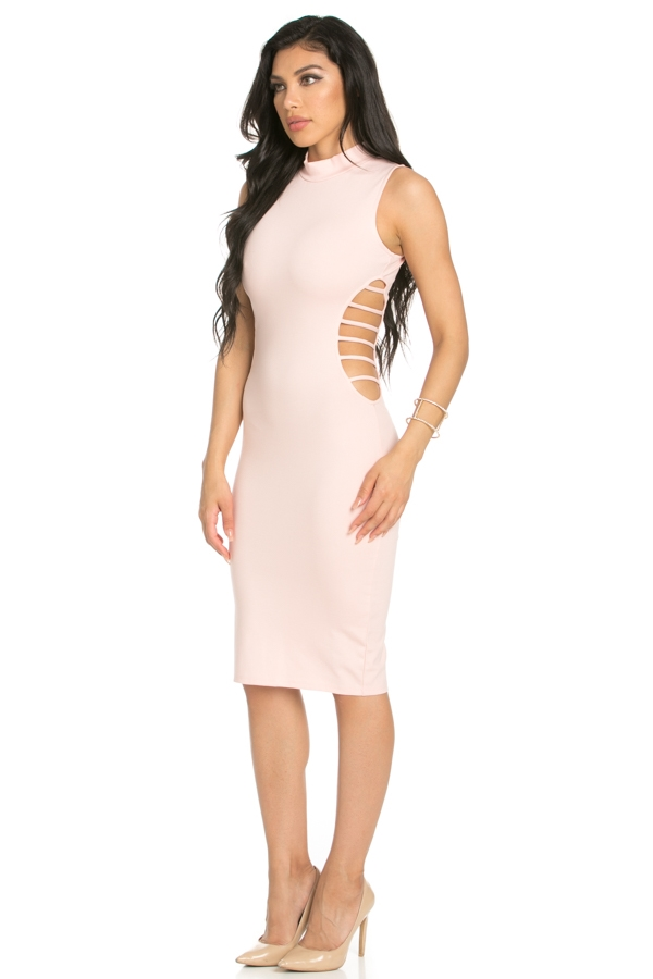 SIDE DETAILS BODYCON DRESS - orangeshine.com
