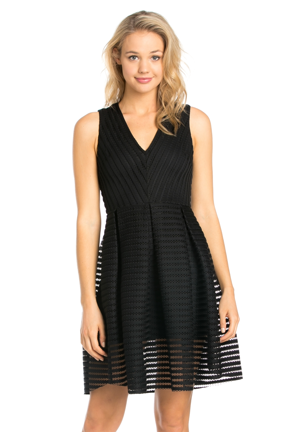 V NECK STRIPE MESH DRESS - orangeshine.com