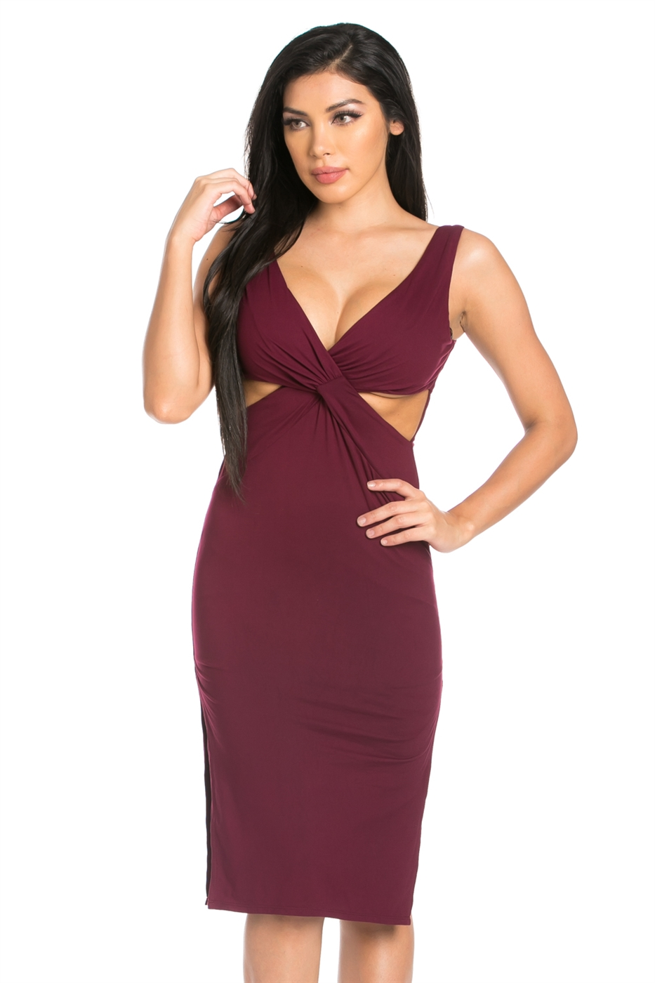 SIDE SLIT V-NECK DRESS - orangeshine.com