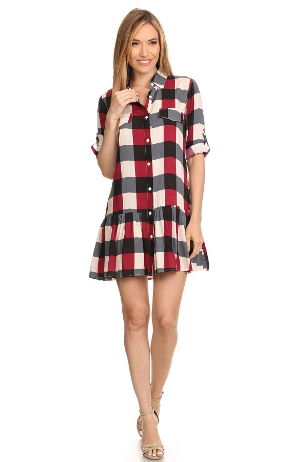 Plaid shirt dress - orangeshine.com