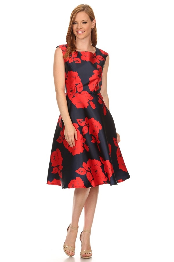 Flower fit and flare dress - orangeshine.com