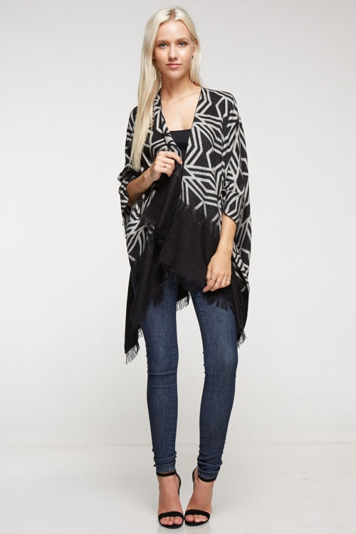 Reversible poncho with fringe - orangeshine.com