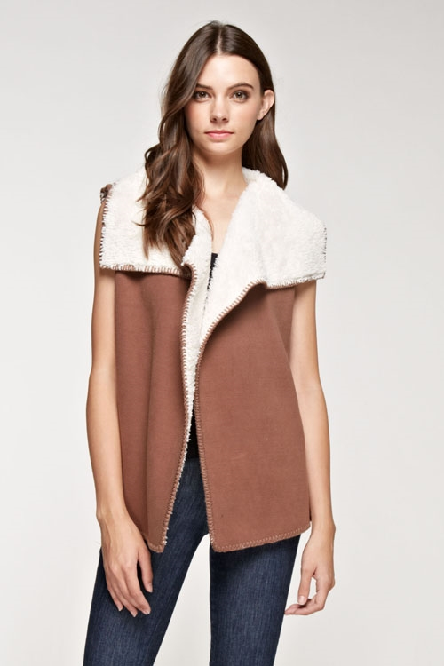 Fur vest with blanket stitch - orangeshine.com