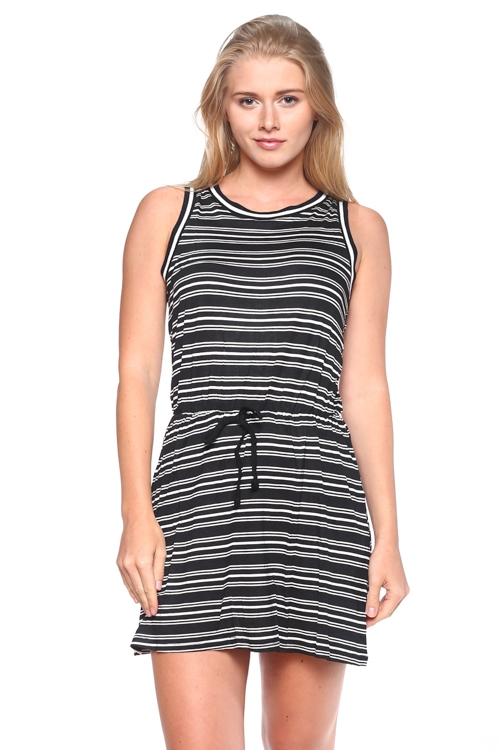 WAIST BANDED STRIP DRESS - orangeshine.com