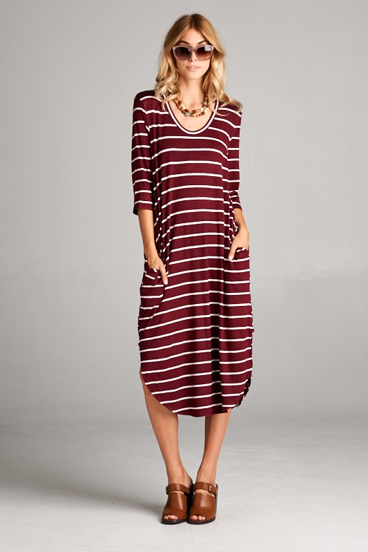 3Q sleeve pocket dress - orangeshine.com
