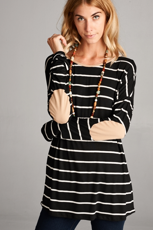 Elbow patch stripe TOP - orangeshine.com