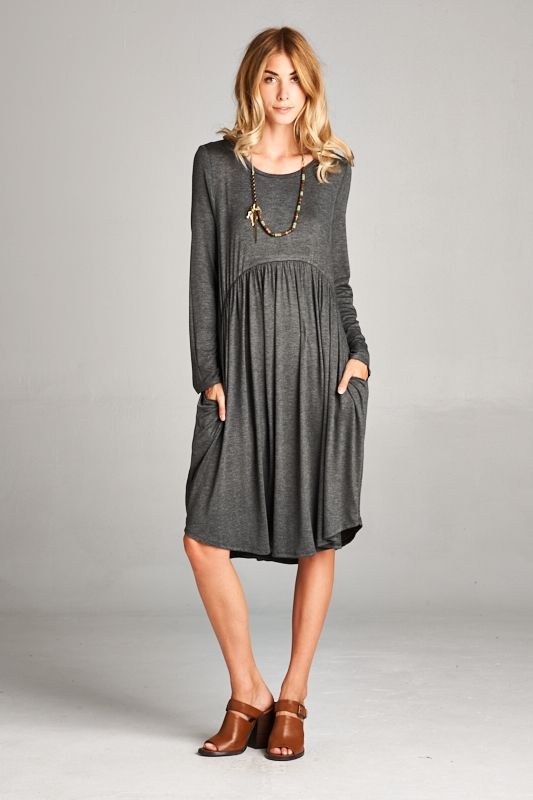 pocket dress with long sleeves - orangeshine.com