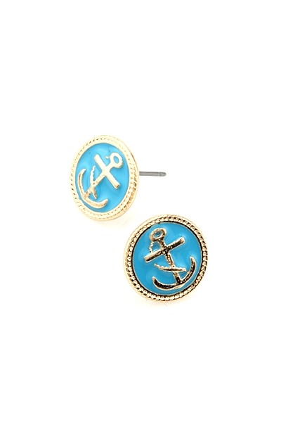 ROUND ANCHOR POST EARRING - orangeshine.com