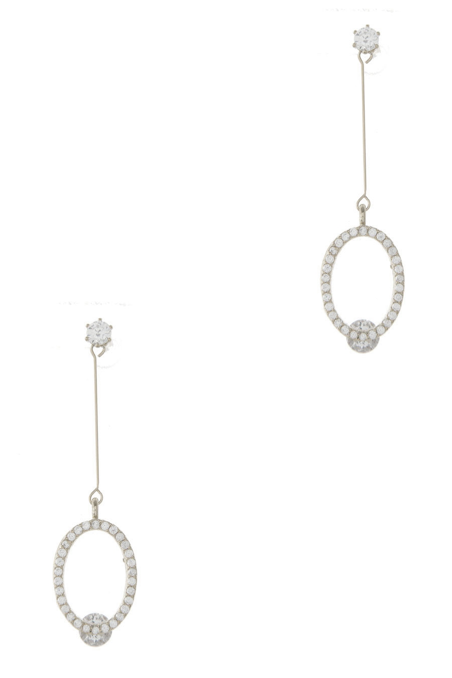 OVAL PAVE CZ DROP EARRING - orangeshine.com