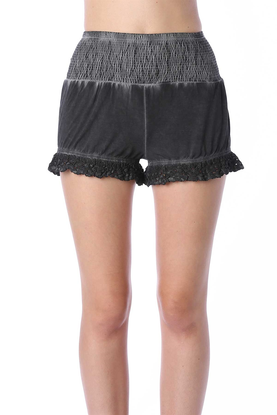 Smocking waist detailed shorts - orangeshine.com