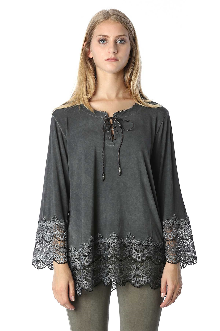 Lace trimmed hem tunic top - orangeshine.com