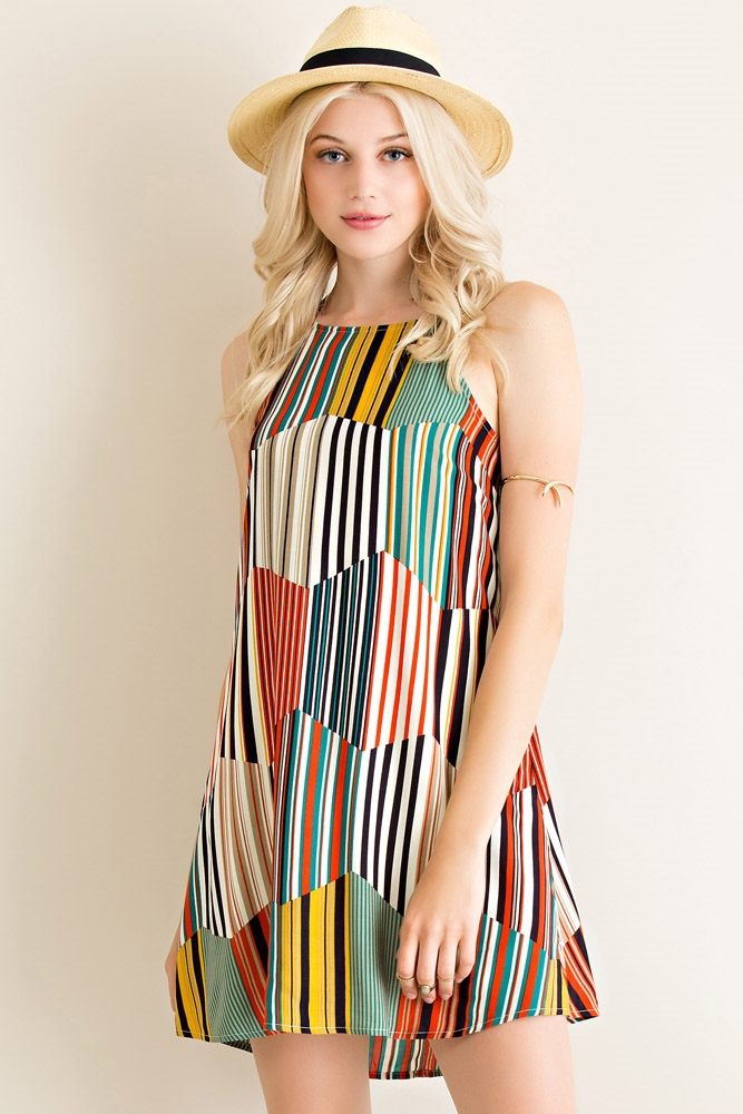 Retro Striped A-line Dress - orangeshine.com