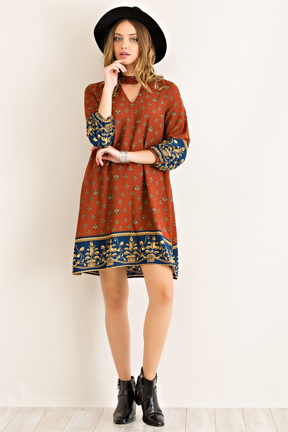 Baroque Border Print Dress - orangeshine.com