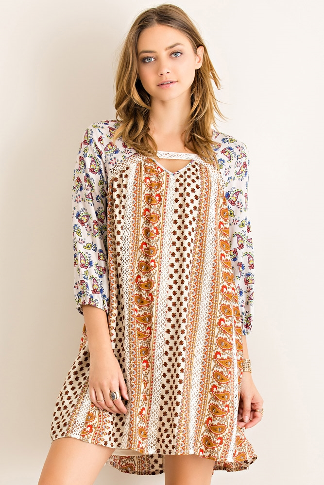Boho Print Swing Dress - orangeshine.com
