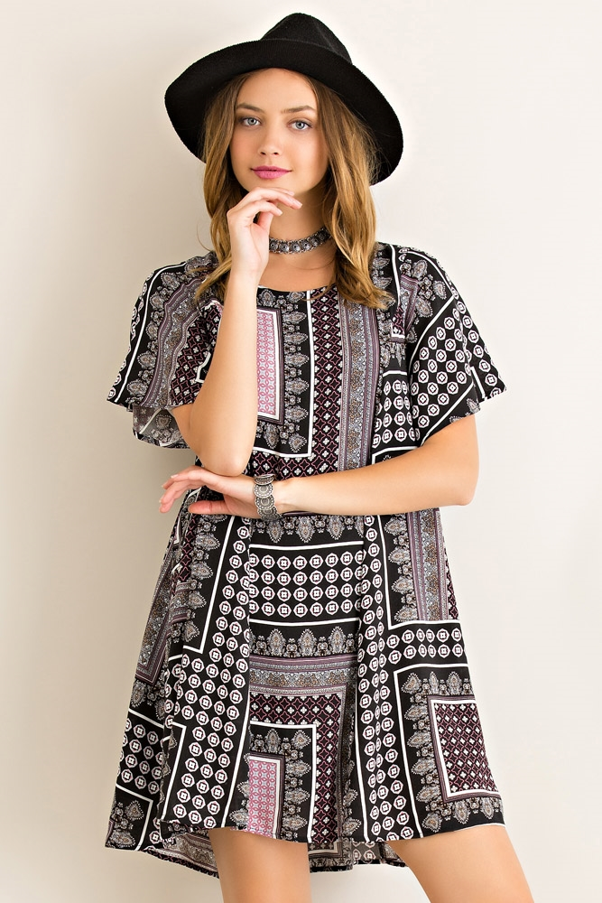 Boho Squared Printed Dress - orangeshine.com