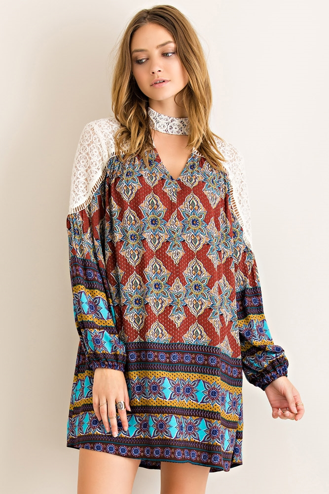 Boho Border Print Dress - orangeshine.com