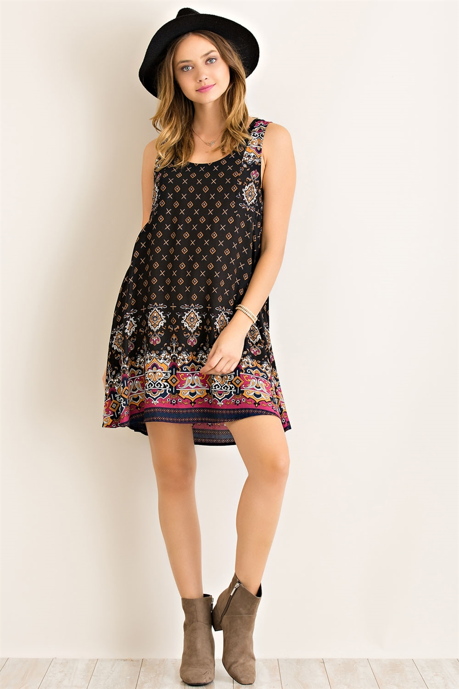 Multi Print Babydoll Dress - orangeshine.com