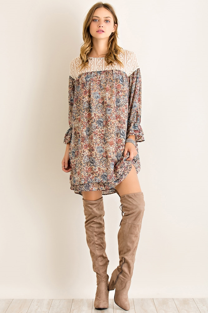 Floral Print Shift Dress - orangeshine.com