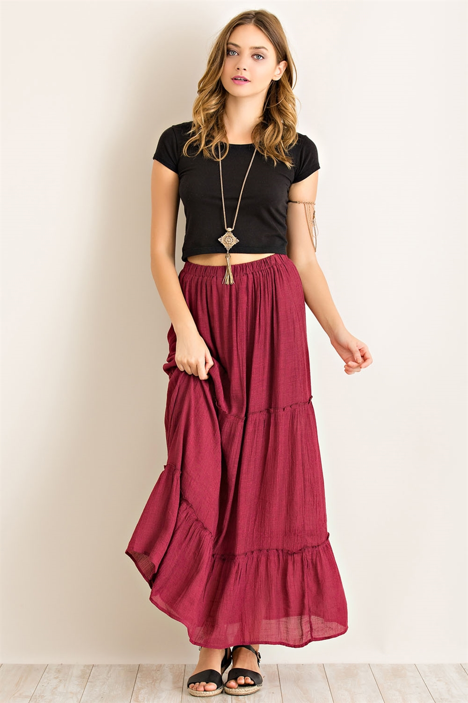 Solid Tiered Maxi Skirt - orangeshine.com